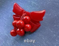 Vintage Mid Century Red Bakelite Plastic Bow Estate Pin Brooch Dangle Cherries