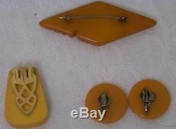 Vintage Mixed Group of Bakelite 2 Pins Earrings 3 Bracelets