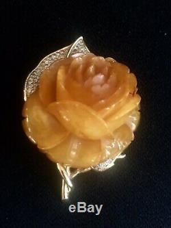 Vintage NETTIE ROSENSTEIN Butterscotch Bakelite Carved Rose Brooch Pin Bea