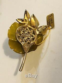 Vintage Nettie Rosenstein Bakelite Yellow Rhinestone Pin Brooch Signed Rare