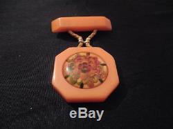 Vintage Orange Bakelite Assembled Lucite Floral Flower Design Brooch Pin RARE