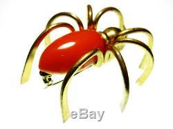 Vintage Orange Bakelite Spider Brooch Large 2 inch Arachnid 3-D Brass Bug Pin