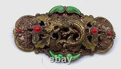 Vintage Orient Revival brass & glass 1930's pin brooch probably Neiger Brothers