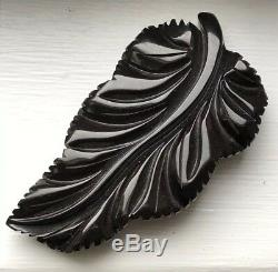 Vintage Original Carved Black Bakelite Leaf Brooch Pin -immaculate