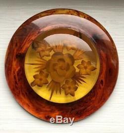 Vintage Original Large Reverse Carved Bakelite Flower Brooch Pin