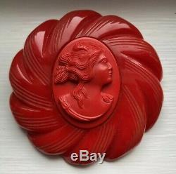 Vintage Original Rare Red Bakelite Base With Celluloid Cameo Brooch Pin