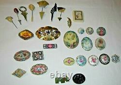 Vintage Pin Lot Celluloid Mosaic Porcelain Bakelite Guilloche Czech 29 Pieces