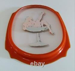 Vintage Pin Up Risque Burlesque Glass Bakelite Bar Decor Drink Plate Vanity Tray