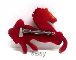 Vintage RARE 1940's Bakelite Equestrian Horse Figural Pin Brooch BOOK PIECE