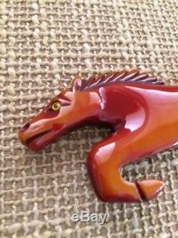 Vintage RARE BAKELITE pin running horse overdye beautiful