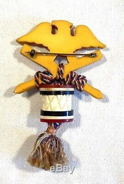 Vintage RARE Martha Sleeper Patriotic Eagle & Drum Bakelite Pin Broach