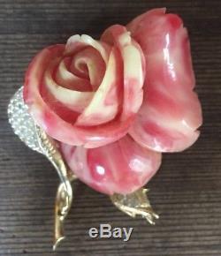 Vintage RARE Nettie Rosenstein ROSE bakelite Pave Rhinestones Flower Brooch Pin