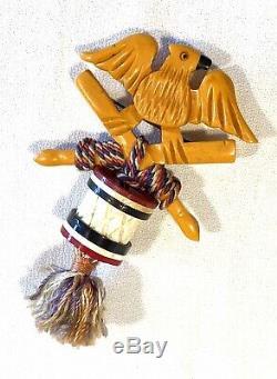 Vintage RARE Patriotic Eagle & Drum Bakelite Pin Broach