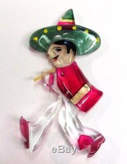Vintage Rare 1940's Lucite Mexican Cowboy Figural Pin Brooch BOOK PIECE! MINT