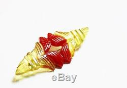 Vintage Rare Bakelite Brooch Pin Applejuice Red Heavily Carved Abstract