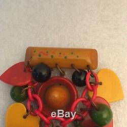 Vintage Rare Bakelite Dangle Heart Hat Jug Ball Chain Pin Brooch 3 1/2L By 2W