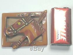 Vintage Rare Bakelite Horse Head Brooch Pin Leather Back Brass Studs Glass Eye