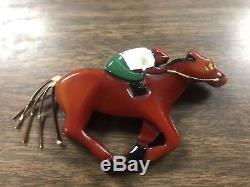 Vintage Rare Bakelite Racehorse & Rider Pin Derby