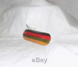 Vintage Rare Laminated Bakelite Pin Four Color / Philadelphia Style