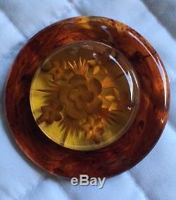 Vintage Rare Reversed Carved Bakelite Flower Brooch Pin Immaculate