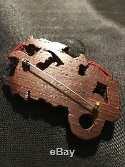 Vintage Rare Wood Pin. Dragon Chinese New Year Dance Bakelite Era