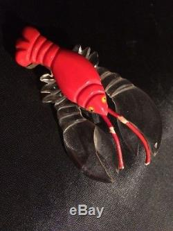 Vintage Red Bakelite And Lucite Lobster Pin. Rare