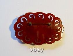 Vintage Red Bakelite Deco Large Carved 3 Pin