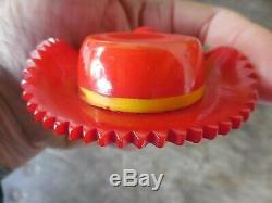Vintage Red Bakelite Hat PIn Brooch w Cherry & Leaves