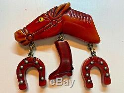 Vintage Red Bakelite Horse Figural Articulated 40s 50's Pin Brooch BOOK PIECE