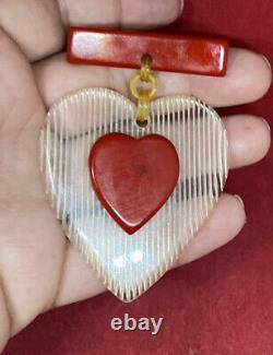 Vintage Red Bakelite White Lucite Heart Pin Brooch Wow Chrome Tested
