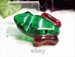 Vintage Red Green Bakelite Frog Pin Brooch TOO CUTE