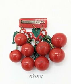 Vintage Retro 1930s Iconic Carved Bakelite Cherries Pin Brooch. FREE SHIPPING