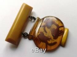 Vintage Reverse Carved Applejuice Bakelite Fishbowl Dangling Pin Brooch