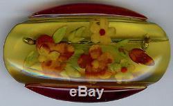 Vintage Reverse Carved Floral Apple Juice & Red Bakelite Oval Pin & Bracelet Set