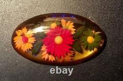 Vintage Reverse Carved & Painted Apple Juice Bakelite Brooch/pin