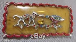 Vintage Rhinestone Enamel Bakelite Brooch Pin Cat Bird Egg Figural 1920's RARE