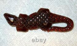 Vintage Root Beer Bakelite And Wood Alligator Lizard Brooch / Pin