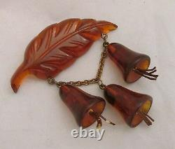 Vintage Root Beer Bakelite Dangling Figural Bell Flowers on Leaf Brooch Pin WOW