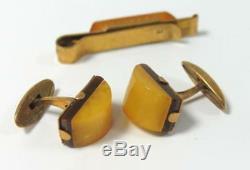 Vintage Russian Amber Bakelite Cufflinks Tie Pin Box