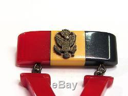 Vintage SUPER RARE WW2 Bakelite Patriotic V Victory Pin Brooch