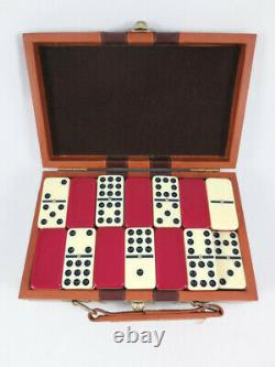 Vintage Set of 55 Two Tone White Red Bakelite Double Nines Spinner Pins Box MCM