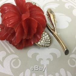 Vintage Signed Nettie Rosenstein Bakelite Pave Rhinestones Flower Brooch Pin