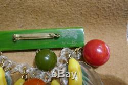 Vintage Signed Schultz Bakelite Brooch Pin