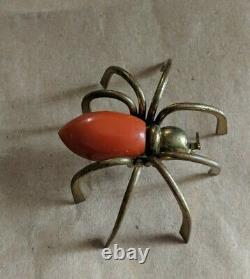Vintage Spider Brooch Pin Art Deco Large Orange Bakelite & Gold