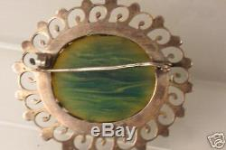 Vintage Sterling Silver Bakelite Pin Marblized Gr & Yel