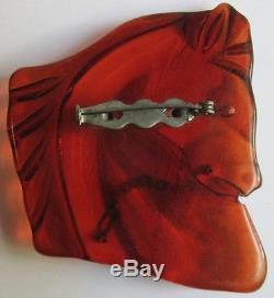 Vintage Translucent Red Orange Bakelite Horse Head Pin Brooch