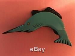 Vintage Turquoise Plastic And Wood Sailfish Pin Bakelite Era 1940's