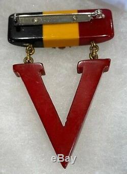 Vintage V FOR VICTORY BAKELITE BROOCH VINTAGE 1940S BROOCH PIN RARE WWII