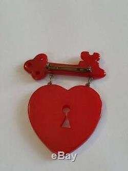 Vintage WWII Era MacArthur Bakelite Key Heart Pin