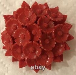 Vintage West Germany Bakelite Floral Bouquet Flowers Brooch Pin-2